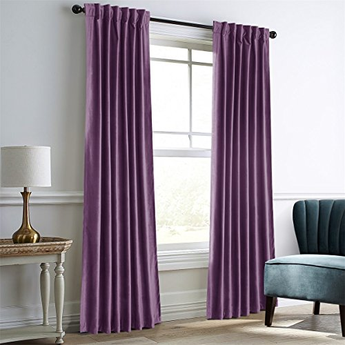 - Dreaming Casa Darkening Purple Velvet Curtains for Living Room,Thermal Insulated Rod Pocket/Back Tab Window Curtain for Bedroom(2 Top Construction Combination,52