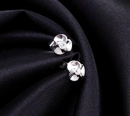 J&F - Boucles d'oreilles femme fleurs avec cristaux Swarovski Crystal, plaqué Argent