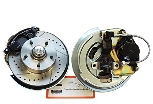 Compatible With 1967-1974 GM A F X Body Front Disc Brake Conversion Kit Cross Drilled Slotted Rotors (N-2-1)