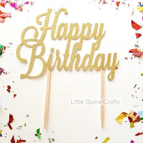 Amazon 1 Pc Happy Birthday Fonts Script Gold Glitter Cake