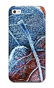 Fashion Tpu Case For Iphone 5c- Frosty Autumn Leaves Defender Case Cover