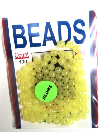6MM Beads - Chartreuse - Glow in the Dark - 100 Pack - for Fishing Tackle or Jewelry - #6MMCHARGLO - Hard Plastic