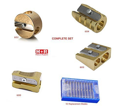 COMPLETE SET 4 Styles of Mobius + Ruppert (M+R) Brass Pencil Sharpeners + 10 Replacement Blades - Finest in the world - MADE IN GERMANY by Mobius & Ruppert