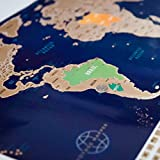"""Large Scratch Off World Map Poster with US States & 208 Flags - (34.5"""" x 21"""") - Bold Colors Beneath Gold Foil - Glossy Finish - Fun and Easy to Scratch Off Map of the World by Voyage Mapper"""