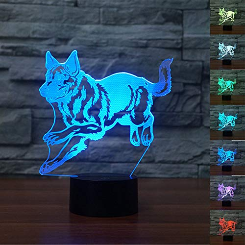 German Shepherd 3D Led Lamp,Abstractive Optical Illusion Night Light,7 Color Change,Touch Switch USB Powered,Birthday Christmas Cool Gift for ()