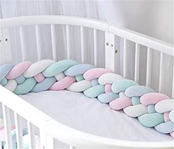 Raylans Baby Crib Bumper Knotted Braided Soft Cot Bumper Braid Pillow for Crib Nursery 118//3m
