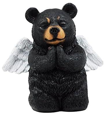"Atlantic Collectibles Praying Angel Bear Figurine 5""H Kneeling Teddy Black Bear Cub Sculpture Decor"