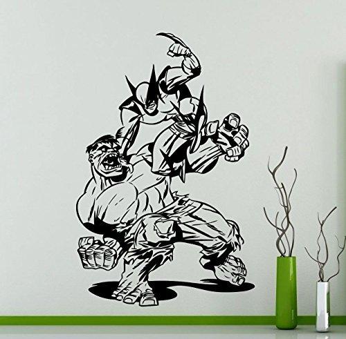 Wolverine Incredible Hulk Fight Wall Decal Hugh Jackman Superhero Dc Marvel Comics Vinyl Sticker Home Nursery Kids Boy Girl Room Interior Art Decoration Any Room Mural Waterproof Vinyl Sticker  279Su