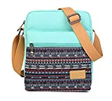 Ecokaki(TM) Fashion Printed Messenger Crossbody Bags Vintage Handbag Canvas Travel Shoulder Bag Leisure Shopping Handbag iPad Bag With Wallet, Light Blue