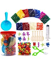 Non Toxic Water Beads Kits for Kids-Assorted Colors Small 11000 Water Beads,150 Jumbo Large Beads/Balloons/Ocean Animals-All in One Jar Growing Beads Pack for Sensory Play,Stress Relief,Crafts,Plants
