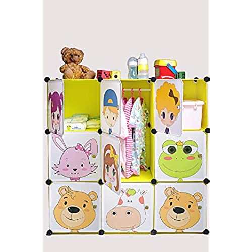 DIY Kidu0027s Cube Furniture, Wardrobe, Closet, Organizer, Safe And Stable,  Cartoon Design, Safety Closures Included (9 Cubes)