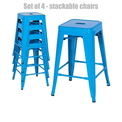 Retro Classic Style School Office Kitchen Dining Room Chair Stackable Backless Metal Frame Stable Seats Indoor/Outdoor Bar Stools - Set of 4 - Blue #1047 (Havertys Set Room Dining Furniture)