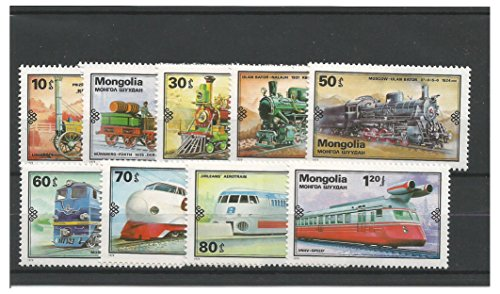 Mnh Trains (Stamps for Collectors - 1979 Development of Railways Trains Locomotives MNH stamp set / Mongolia SG1215 - 1223)