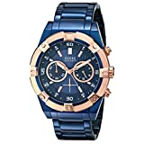 GUESS Men's U0377G4 Sporty Blue Stainless Steel Multi-Function Watch with Chronograph Dial and Deployment Buckle
