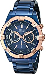 GUESS Men's U0377G4 Iconic Blue-Plated and Rose Gold-Tone Watch