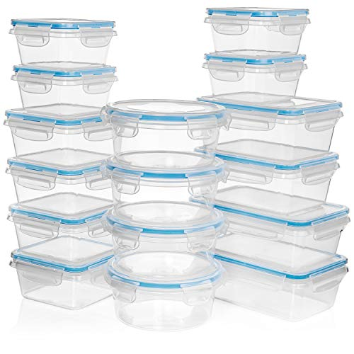 (HUGE 32 Pc Set (16 Containers set) + 14 Measuring Cups & Spoons set - Plastic Food Storage Containers w/Lids -FREE 27 Labels & Marker Included -Airtight Leak Proof Easy Snap Lock & BPA Free Containers)