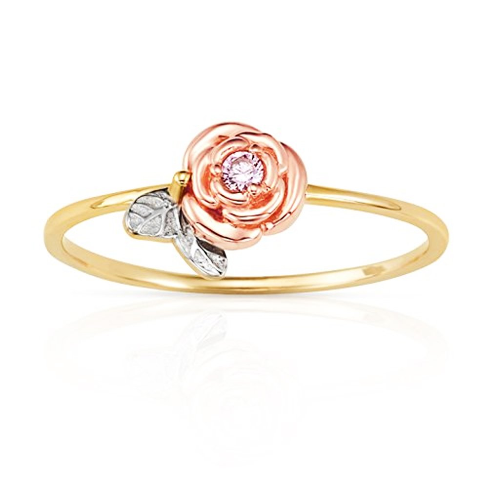 Single Rose With Pink CZ Center Stackable Promise Ring in 14K Yellow, White and Rose Gold (4)