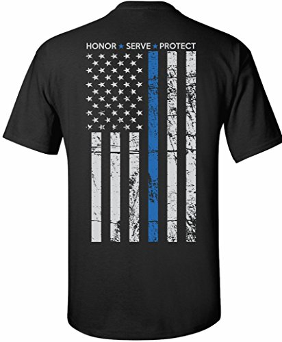 Patriot Apparel Thin Blue Line Police Tee T-Shirt Honor Hero Officer Short Sleeve Design (Large, Black)