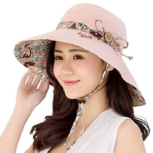 Women Sun Hats Hindawi Summer Reversible UPF 50+ Beach Hat Foldable Wide Brim Cap,