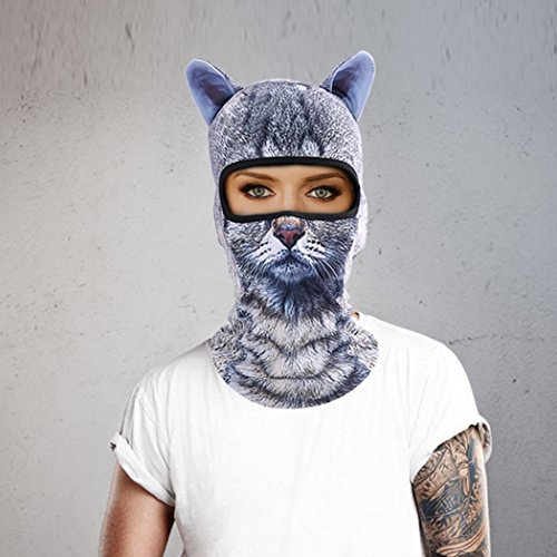 Outgeek Cat Mask, Women Men Balaclava Summer Full Face Hat Animal Ears Sports Helmet Climbing Fishing Cap (Cat and Dog) by Outgeek (Image #2)