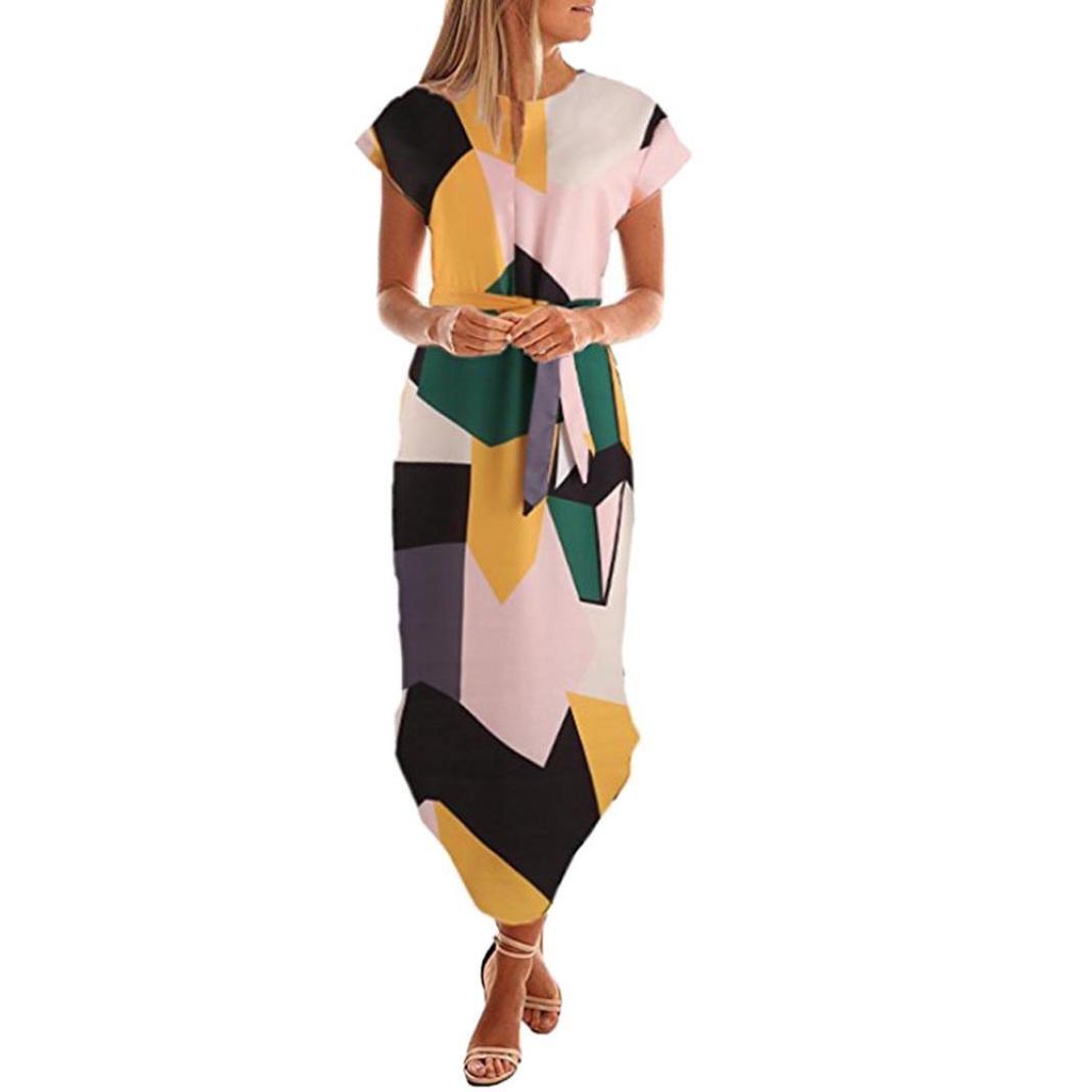 8378f6ba0861 Amazon.com: Elogoog Hot Sale 2018 Women Casual Short Sleeve Waist Tie  Printed V Neck Flowy Irregular Long Maxi Dress: Clothing