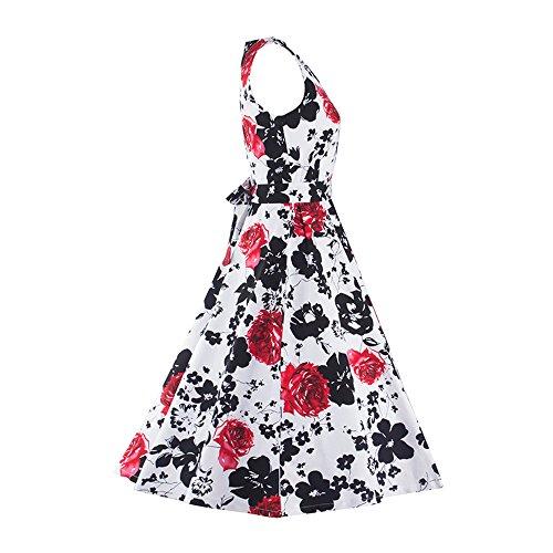 Benala Crew Stretch A Dress Swing Red 1950S Dress Party Flower Mini Neck Print Women's Sexy Sleeveless Casual Line rF10Xr