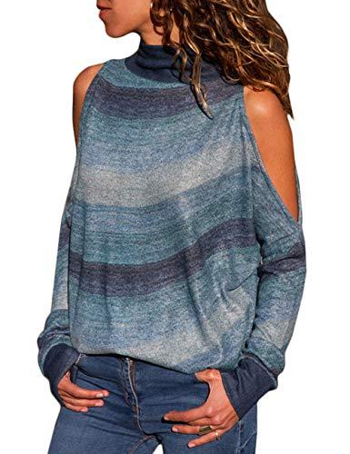 Calladream Women Turtle Neck Gradient Abstract Print Cotton Off Shoulder Pullover Sweater