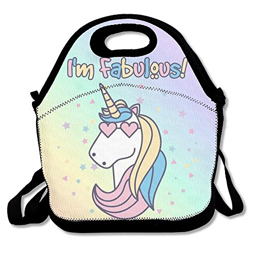 GoldBaoWang - Fiambrera de neopreno con diseño de unicornio colorido, bolsa de picnic con aislamiento, resistente al agua,...