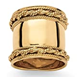18k Gold over .925 Sterling Silver Cigar Band-Style Wide Rope Ring