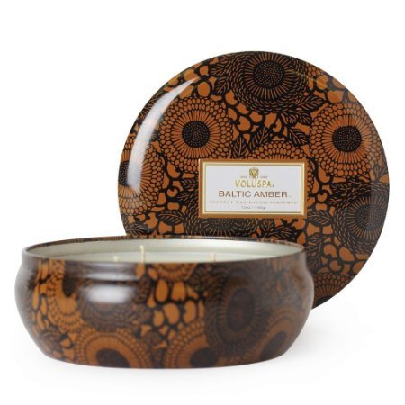 - Voluspa Baltic Amber Decorative 3 Wick Tin Candle 12.0 oz