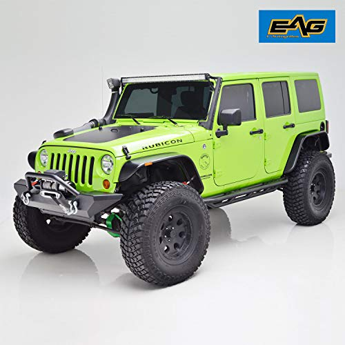 EAG Fender Flares Set of 4 with LED Amber Side Marker Flat Style Fit for 07-18 Jeep Wrangler JK ()