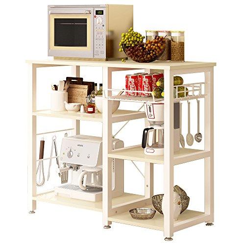 SogesHome 3-Tier Kitchen Baker's Rack Utility Microwave Oven Stand Storage Cart Workstation Shelf, White Oak SH-W5s-MO ()