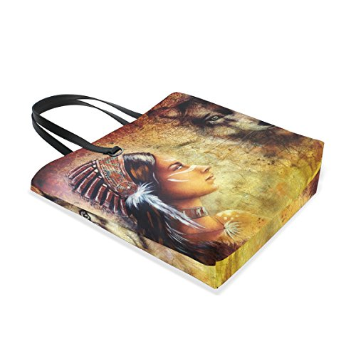 Travel Woman Handbag Bag Bags Headdress Women Indian With Wearing MASSIKOA Shopping Wolf Feather Tote for Tote Beach Totes 5vx7THq