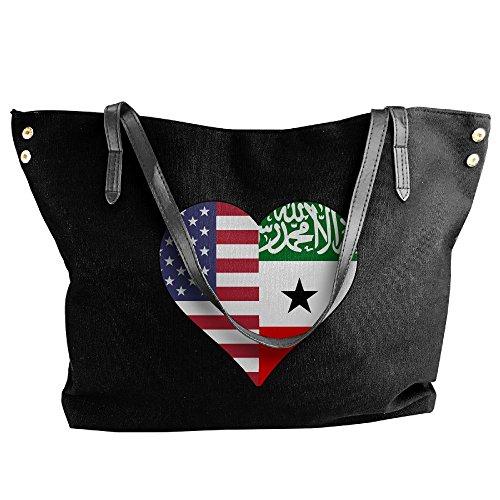 (SW98Q98 Half Somaliland Flag Half USA Flag Love Heart Women's Casual Canvas Shoulder Bag for Shopping Work Bag)