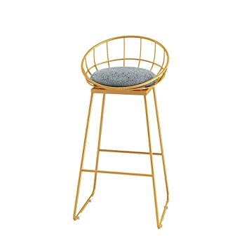 Amazon.com: PanCF Bar Stool, Wrought Iron Bar Chair Golden High ...