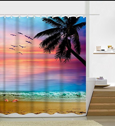 Beautiful Natural Scenery Seagull Palm Tree Beach Sunrise Waterproof Shower Curtain Extra Long 72 X 78