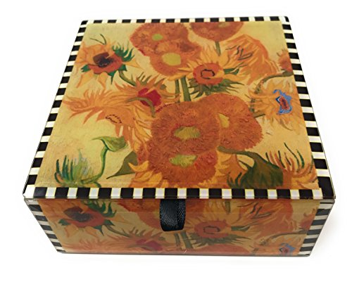 Value Arts Vincent Van Gogh Sunflowers Glass Keepsake Box, Beveled Edges, Velvet Lined, 4.7 Inches Square