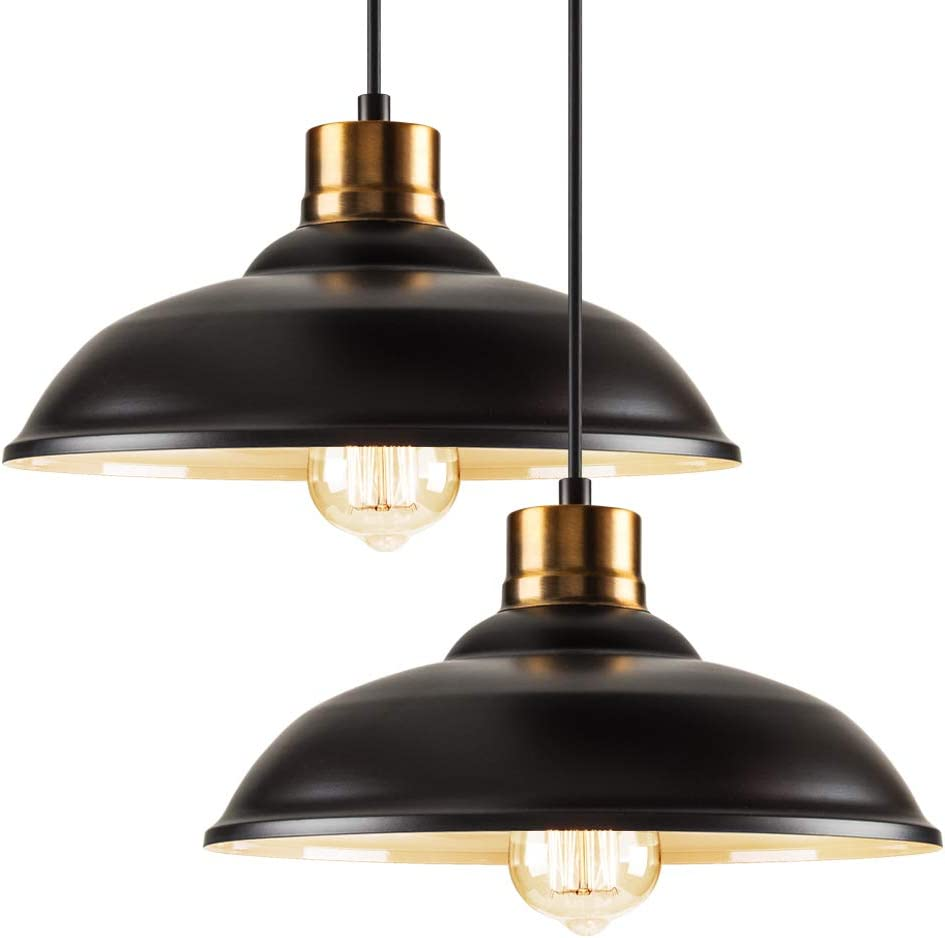 Industrial Metal Pendant Lighting Single Set of 2,Height-Adjustable Edison Hanging Light Fixture, Farmhouse Pendant Light for Dining Room Kitchen Barn Restaurants Hotels and Shops,E26 Socket