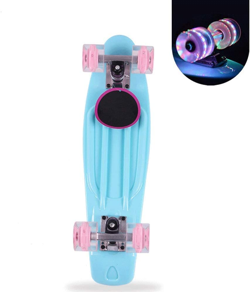22-Inch Single-Warp Skateboard,Suitable for Childrens Adult Four-Wheeled Scooter D-F Perfect Skateboard