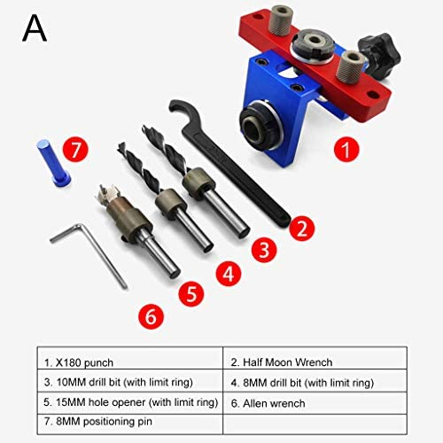 KunmniZ 3 in 1 Woodworking Pocket Hole Drill Guide Locator Auxiliary Positioning Drilling Furniture Connecting Hole Puncher Hand,B