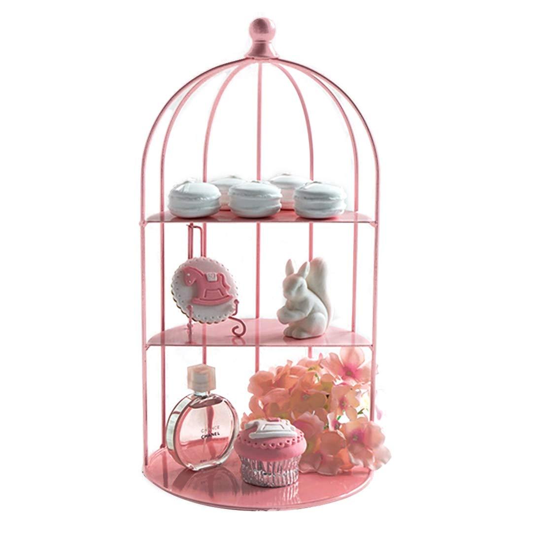 Doyvanntgo カップケーキスタンド鳥かごパーティーウェディング誕生日ケーキデザートディスプレイタワートレイ、ピンク   B07JF9C7CC