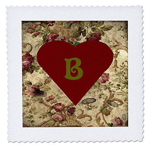 3dRose Lens Art by Florene - Victorian Style Monograms - Image of Olive Script B On Olive Maroon Brocade with Heart - 10x10 inch Quilt Square ()