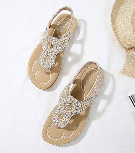 Fashion Toe pour Slip Gold D'été Confortable De Aqua Strass Non Clipping Perles Femmes Sandales PaxXUWqnwY