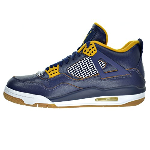 Nike Herren Air Jordan 4 Retro Turnschuhe midnight navy, gold leaf, white, metallic gold