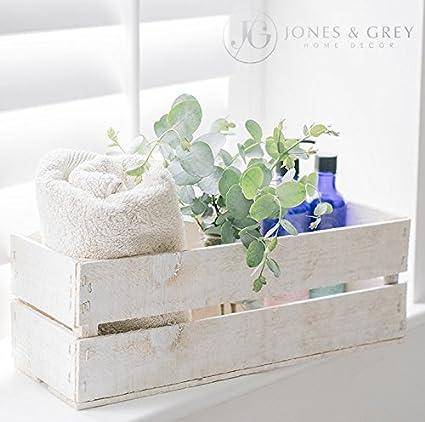 Jones & Grey Lavado Blanco Caja de Almacenamiento de Madera Estilo Vintage Caja de Fruta jardín Maceta jardín de Hierbas de Cocina: Amazon.es: Hogar