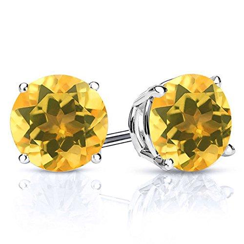 Gem Stone King Sterling Silver Yellow Citrine Stud Earrings 2.60 cttw Gemstone Birthstone Round 7MM