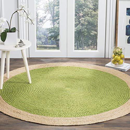 Safavieh Natural Fiber Collection NF801G Hand-Woven Green and Natural Jute Round Area Rug (5' in Diameter)