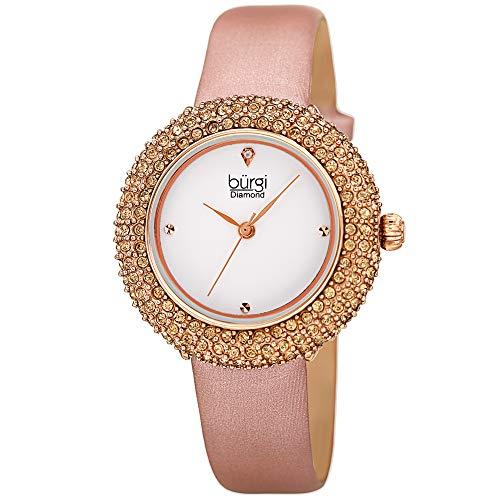 - Burgi Swarovski Colored Crystal Watch - A Genuine Diamond Marker on a Slim Leather Strap Elegant Women's Wristwatch - Mothers Day Gift -BUR227RG (Rose Gold)