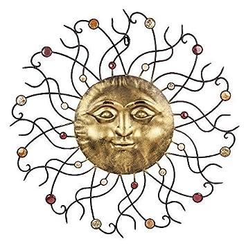 Große Wand Dekoration Sonne Mit Schmucksteinen Garten Deko Aus Metall