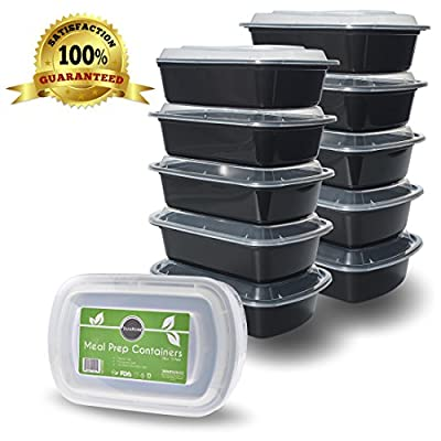 DuraHome - Meal Prep Containers with Lids - 38oz. BPA-Free Rectangular Microwaveable Reusable Black Plastic Food Storage Container, Made in USA - Set of 10